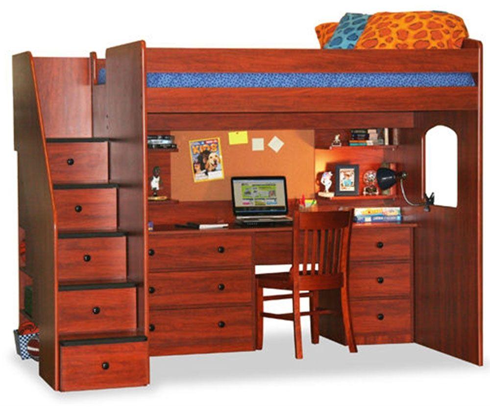 Utica Dorm Loft Bed with Workstation