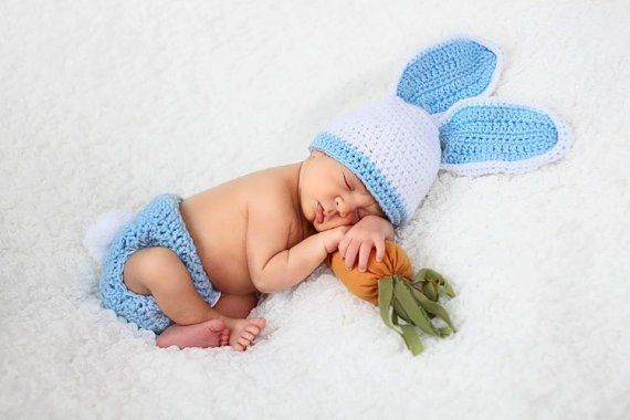 Crochet Bunny Newborn Bonnet and Diaper CoverBaby Easter Photo Prop Baby Bonnet Photography Prop Newborn HatBaby Hat Made to order
