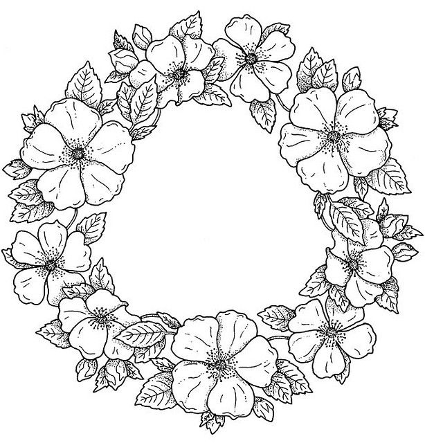Flower Designs and Motifs - dog rose | Coloring pages ...