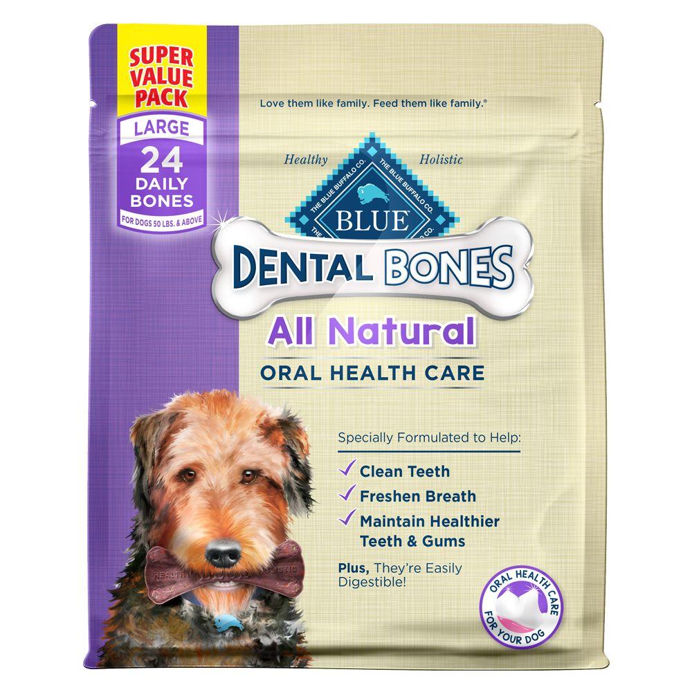 Blue buffalo dental bones large dog treats natural size