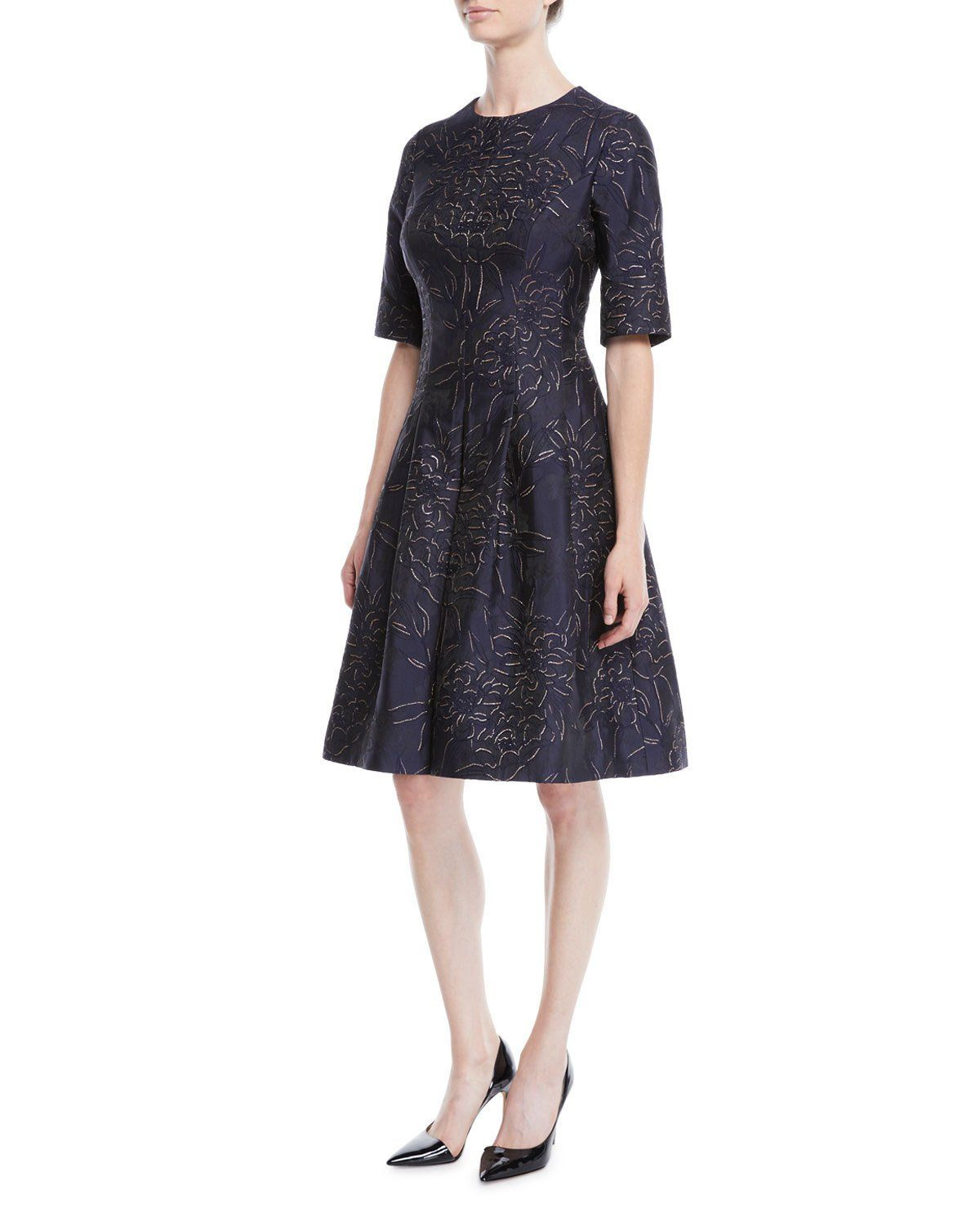 86363cd15d Rickie Freeman for Teri Jon Elbow-Sleeve Floral-Jacquard Fit-and-Flare  Cocktail Dress