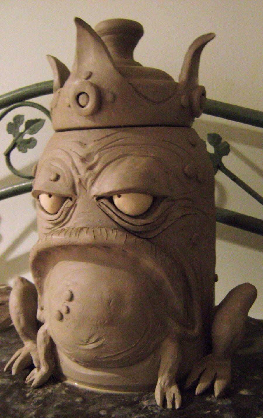King Frog Cookie Jar Wip By Thebigduluth On Deviantart Pottery Sculpture Ceramic Sculpture Ceramics