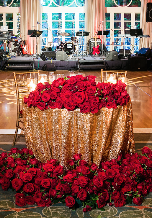 Romantic Wedding Filled with Red Roses and Gold Details