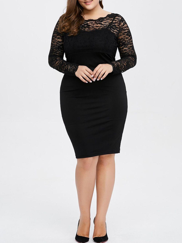 Plus Size Lace Trim Openback Sheath Dress