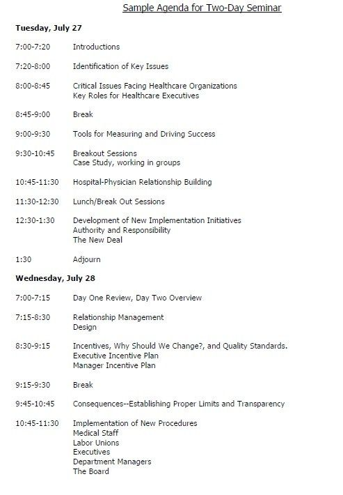 Seminar Agenda Template  Stationary Templates    Template