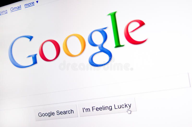 Google Computer Screen With Google Main Search Page Closeup