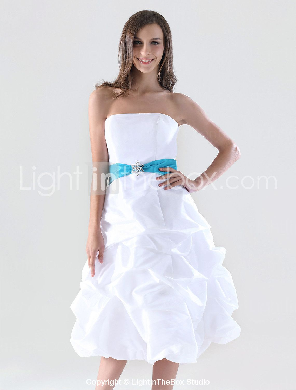 A-line Strapless Knee-length Taffeta Pick-up Bridesmaid/ Homecoming Dress - US$ 99.99