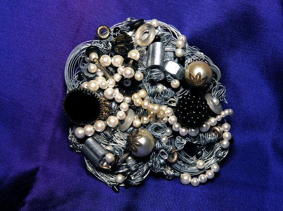 • OOAK Elegant Fantasy Steampunk Belt Buckle Pendant Brooch  • Colors: Silver Black White Cream  • 5 in x 5 in 4 1/2 oz    • Large Statement Jewelry $250