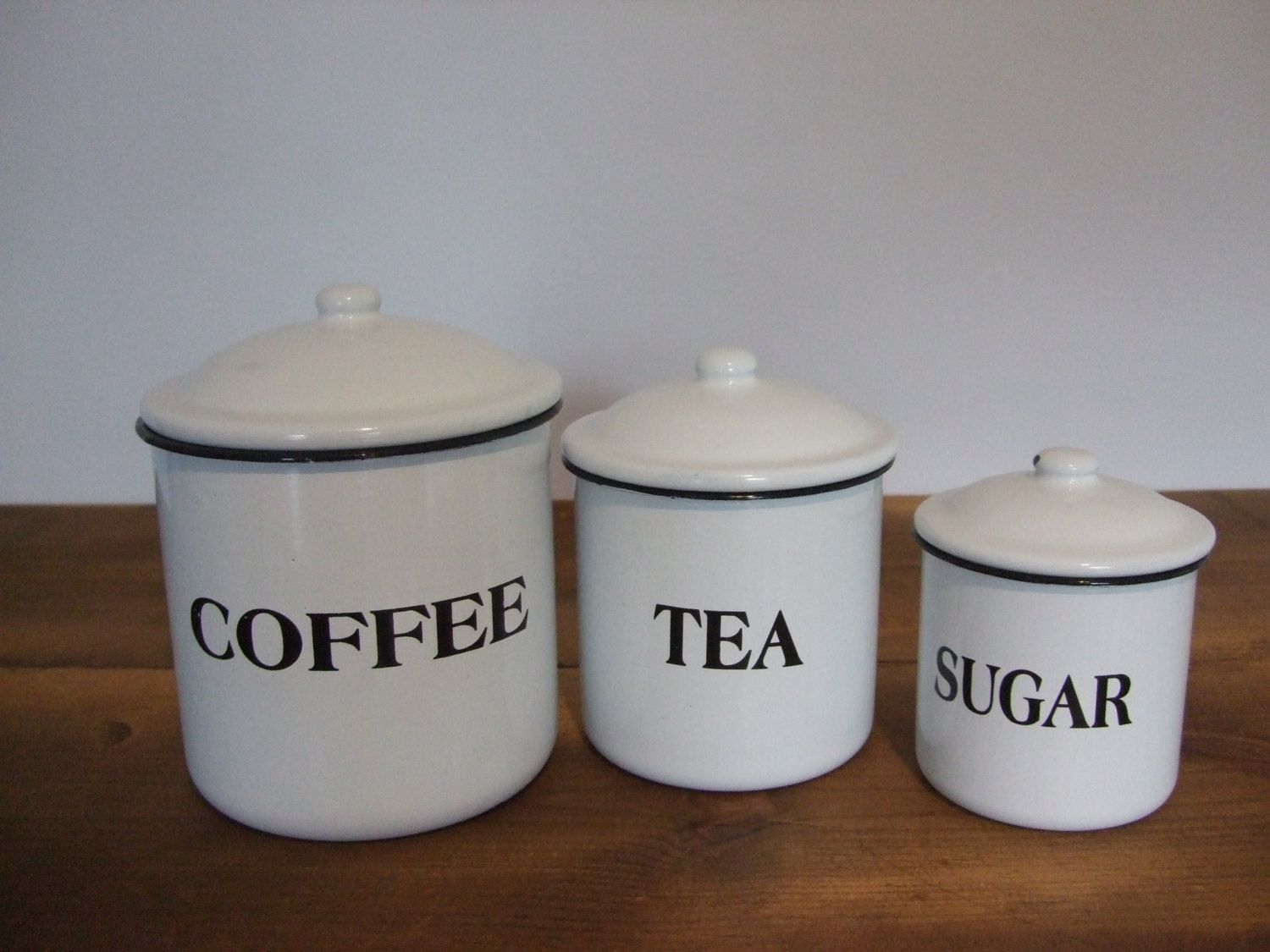 Vintage Enamel Canister Set Coffee Tea Sugar White with Black