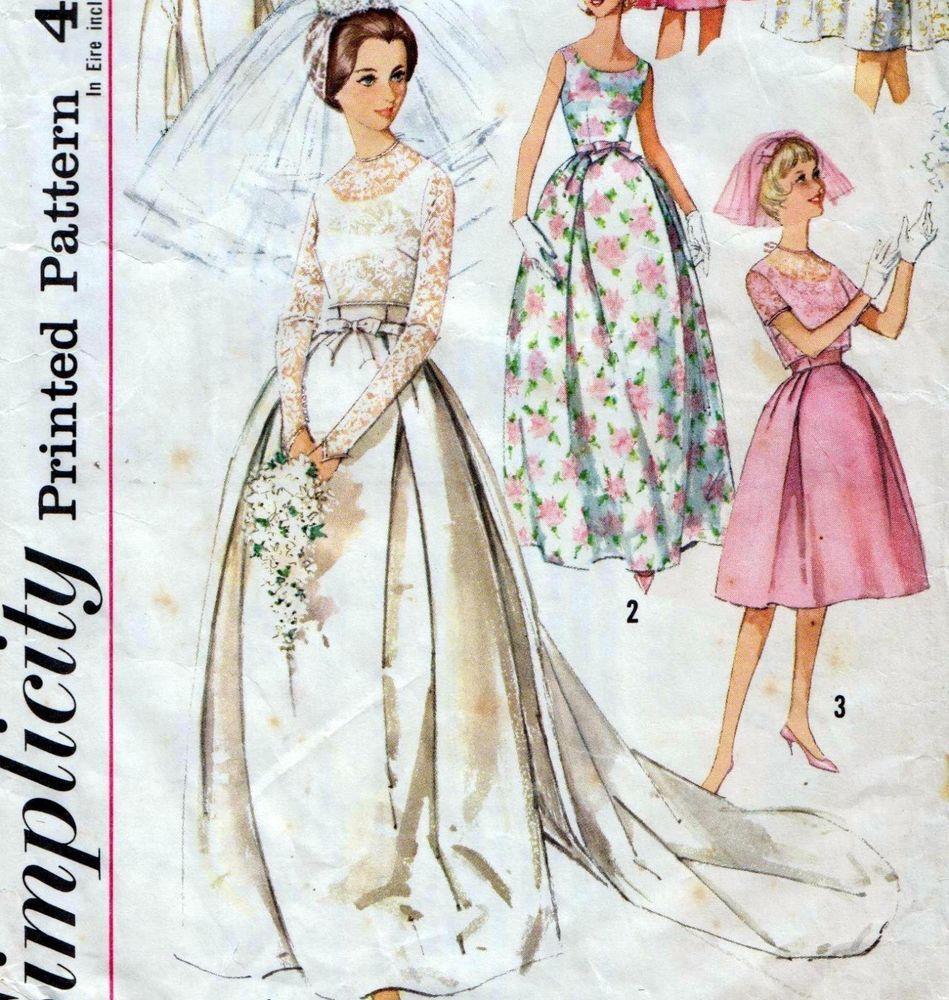 60s wedding dress  Vintage s WEDDING DRESS Sewing Pattern Bust