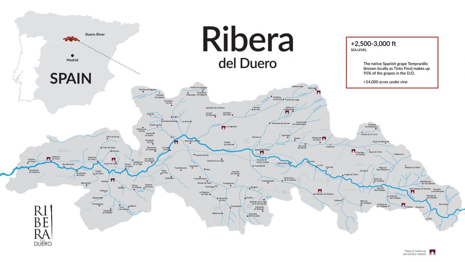 Map Of Ribera Del Duero Wine Region In Spain In Vino