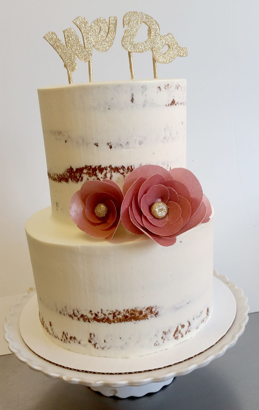 Scantily Clad Petite Wedding Cake With Wafer Paper Flowers And Edible Glitter Topper