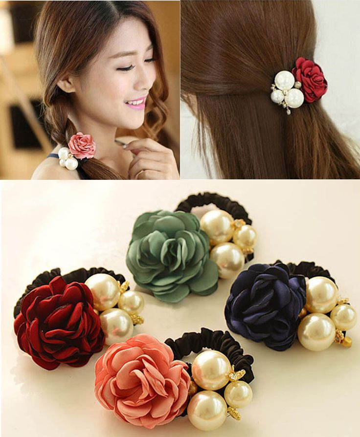 Cute Women Satin Ribbon Flower Pearls Rope Scrunchie Ponytail Holder Hair Band - Carola #ribbonflower