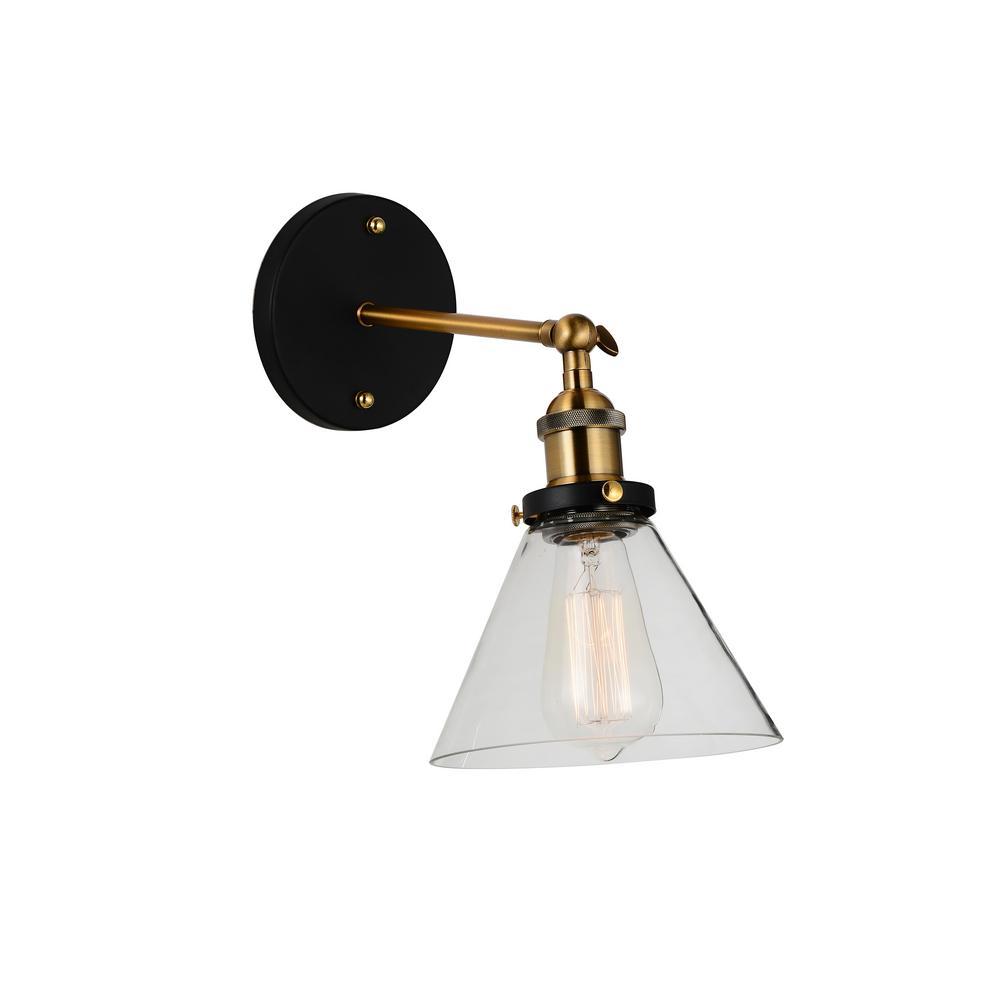 Cwi Lighting Eustis 1 Light Black And Gold Brass Sconce 9735w7 1 101 The Home Depot Black Sconces Rustic Wall Sconces Sconces