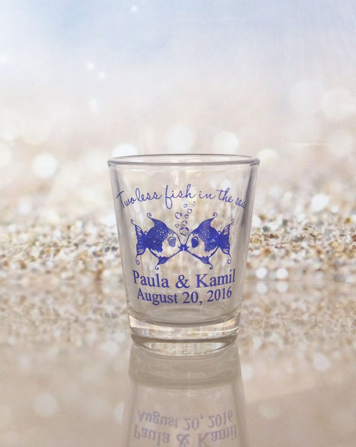 Wedding Favors Two less fish in the Sea Kissing Fish Shot Glasses ...