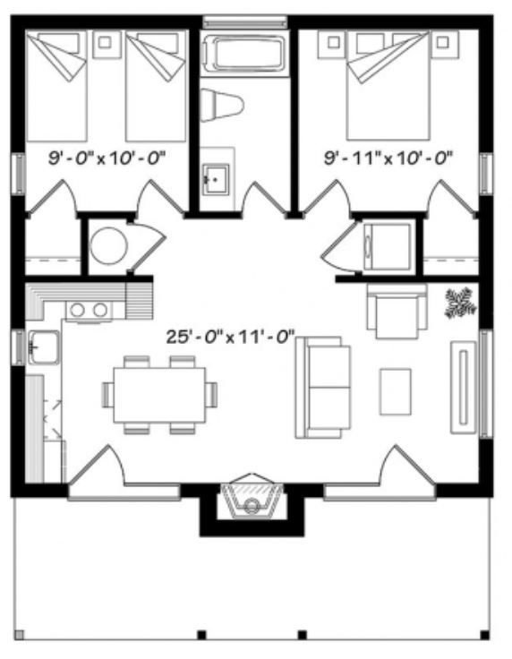 Plano De Casa Chica De 60m2 Y 2 Dormitorios Planos