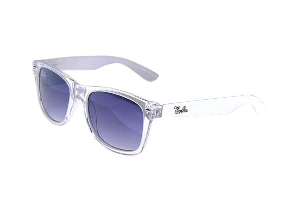 Ray Ban Wayfarer RB2132 Sunglasses White Frame Purple Lens