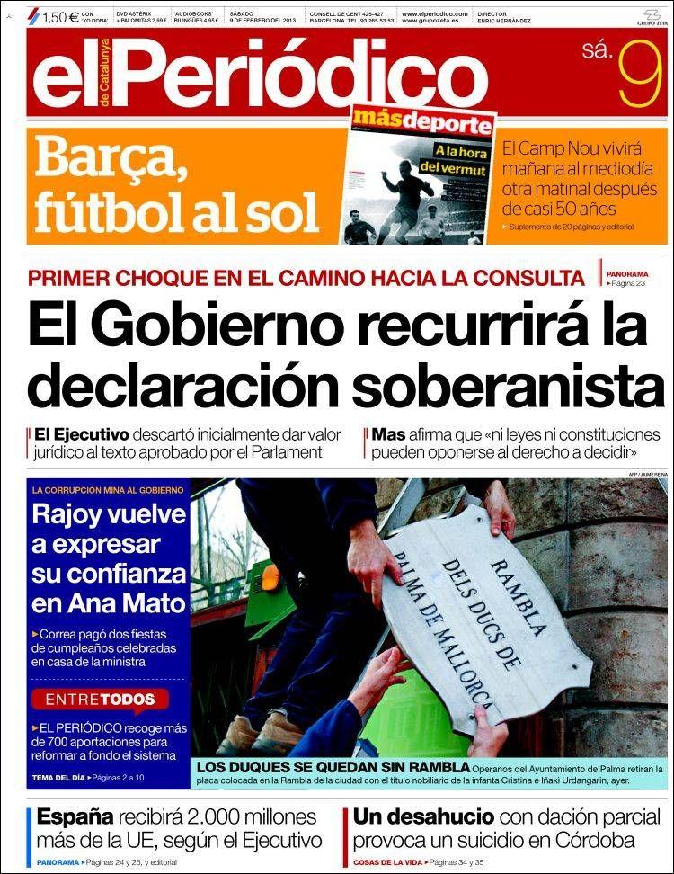 Los Titulares y Portadas de Noticias Destacadas Españolas del 9 de Febrero de 2013 del Diario El Periódico ¿Que le parecio esta Portada de este Diario Español?