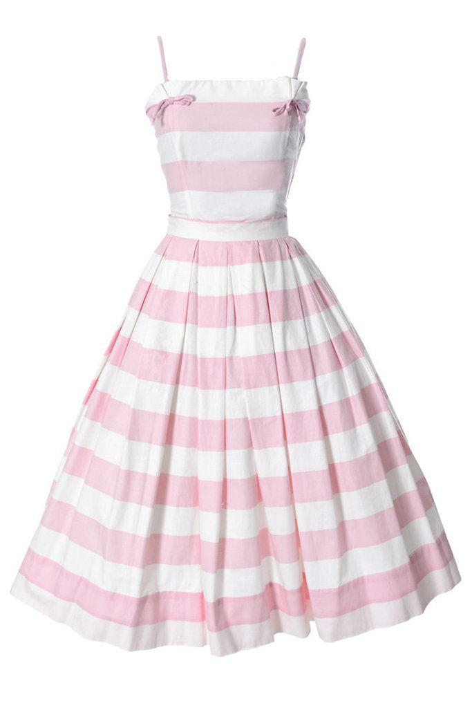 d29e7c026 Pink Striped 2 Piece Vintage Dress Lovely vintage 2 pc dress from the late  1950's or