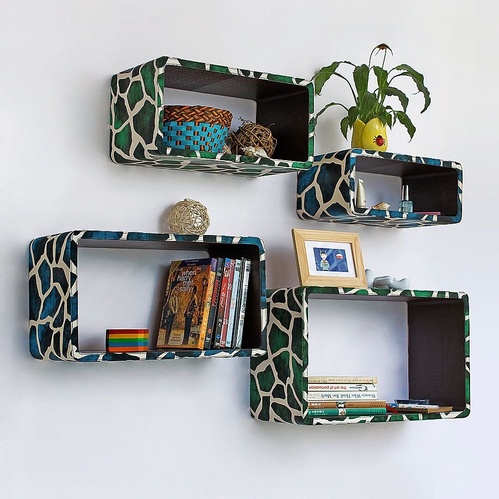 TheDealCutters - Blue Green Giraffe Rectangle Leather Floating Wall Shelf (Set of 4) (http://stores.thedealcutters.com/blue-green-giraffe-rectangle-leather-floating-wall-shelf-set-of-4/)  #homedecor #wallingshelves #floatingwallshelves #DIY #homeaccents #decor