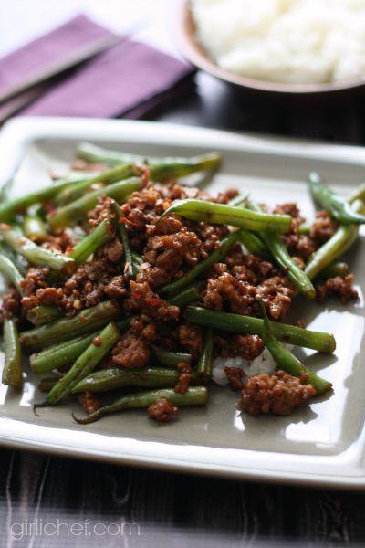 Szechuan Green Beans With Ground Pork Ground Pork Recipes Green Bean Recipes Pork Dishes