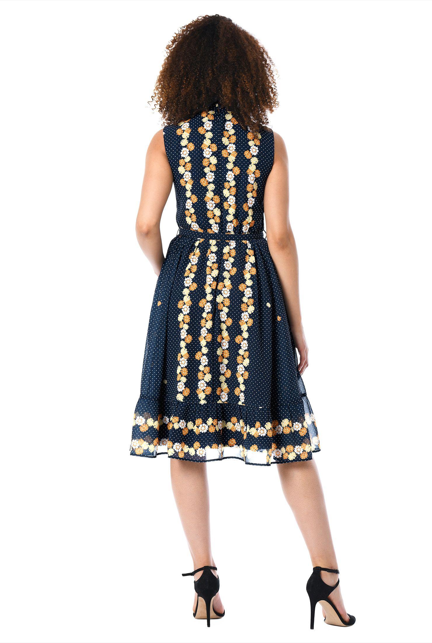 Dot floral print georgette dress dress belts
