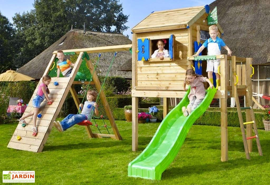 aire de jeux jungle playhouse l bois toboggan balan oire escalade jeux jungle toboggan et. Black Bedroom Furniture Sets. Home Design Ideas