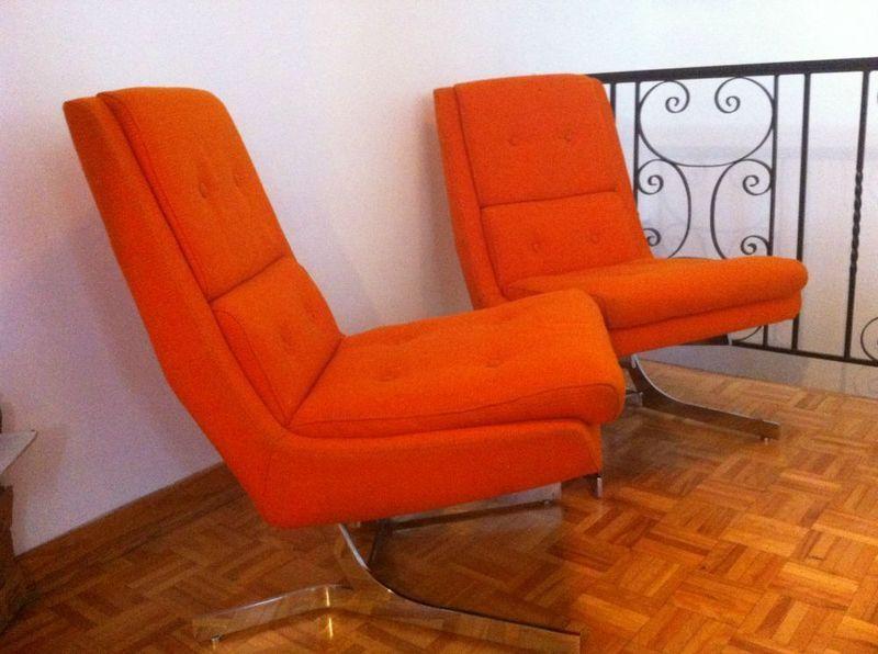 Retro orange tweed & chrome modern chairs, from the 1970s. On Kijiji ...