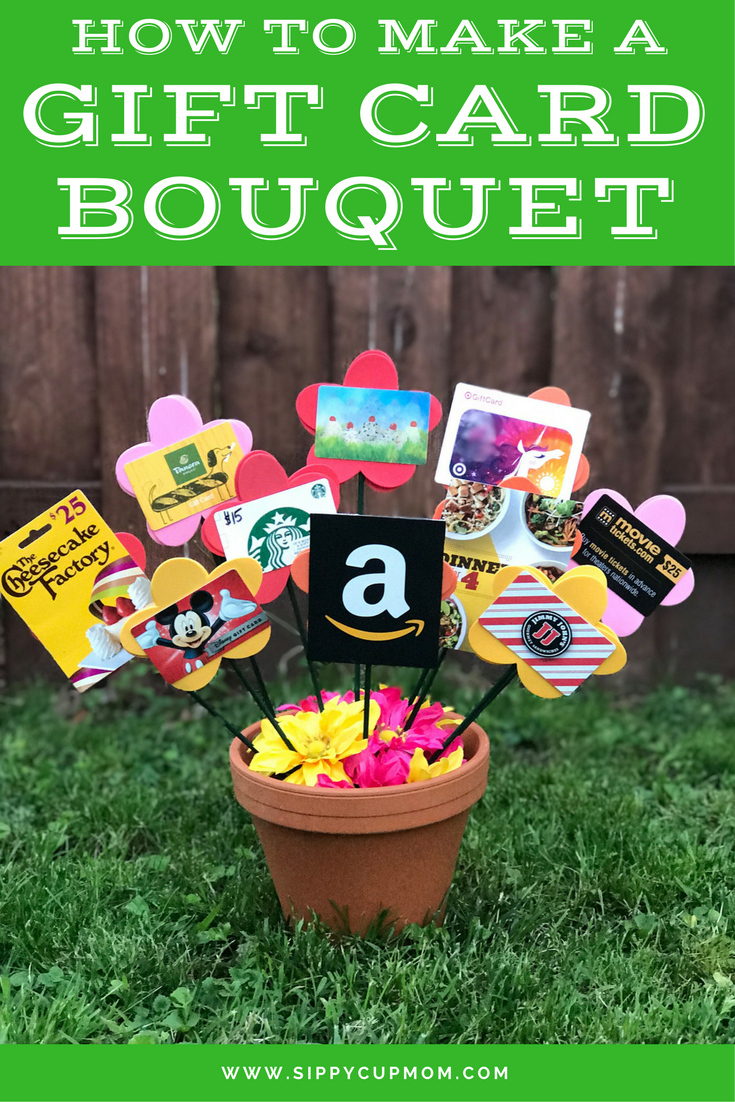 How To Make A Gift Card Bouquet Sippy Cup Mom Gift Card Bouquet Gift Card Basket Gift Card Tree