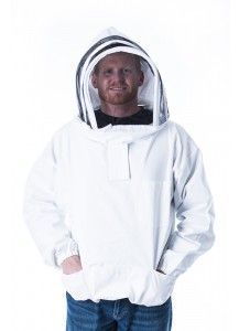 Bee Jacket, Fencing Hood--this bee jacket is a great addition for every beekeeper.  Made of 100% cotton in sizes small to 5X.  Also available with a round hood.