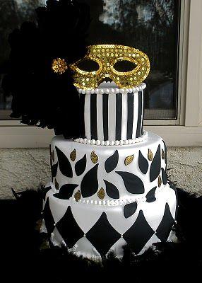 Black, white, & gold masquerade birthday cake. From ...