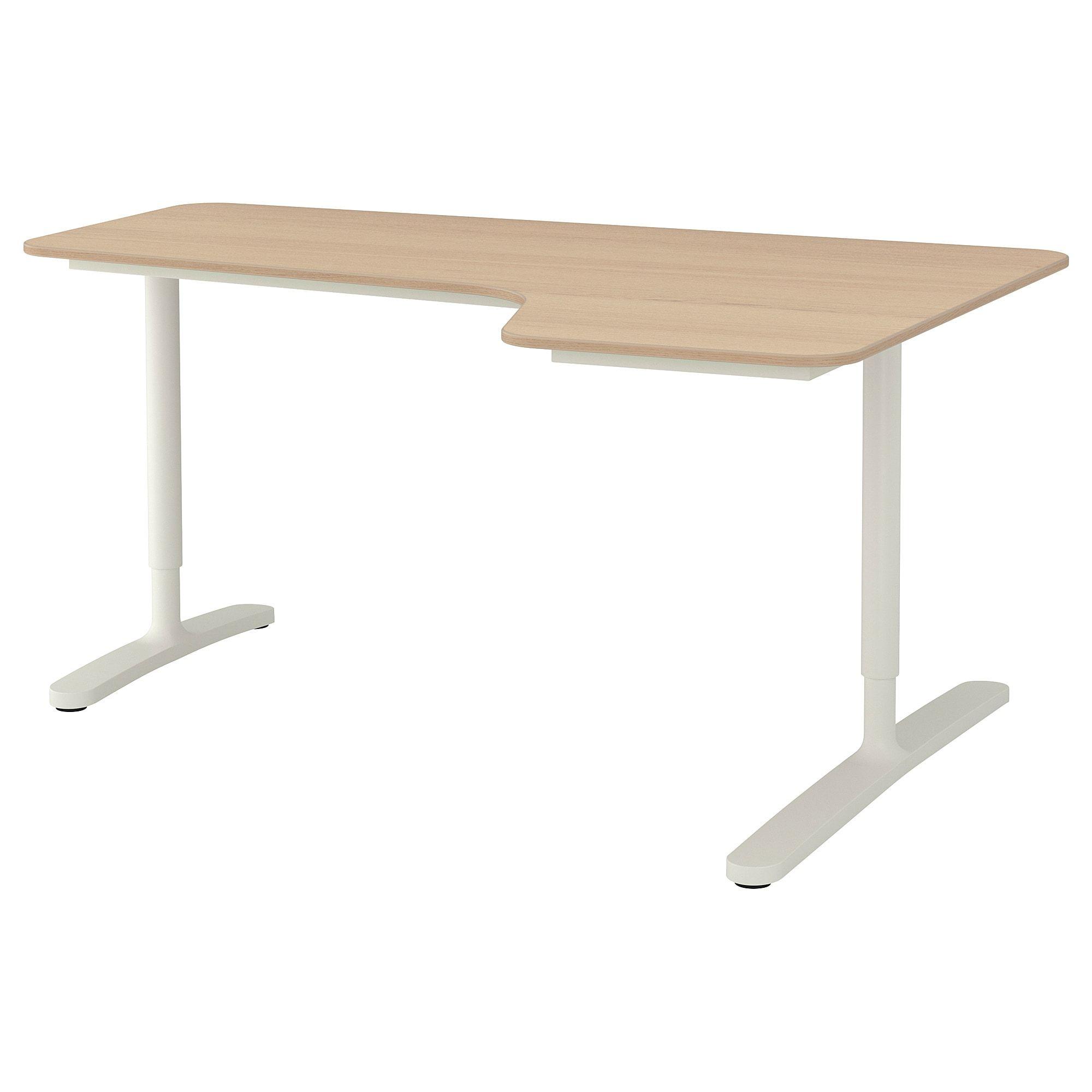 Bekant Ecktisch Rechts Eichenfurnier Weiss Lasiert Weiss Ikea Osterreich Ecktisch Eiche Und Aufgeraumter Schreibtisch