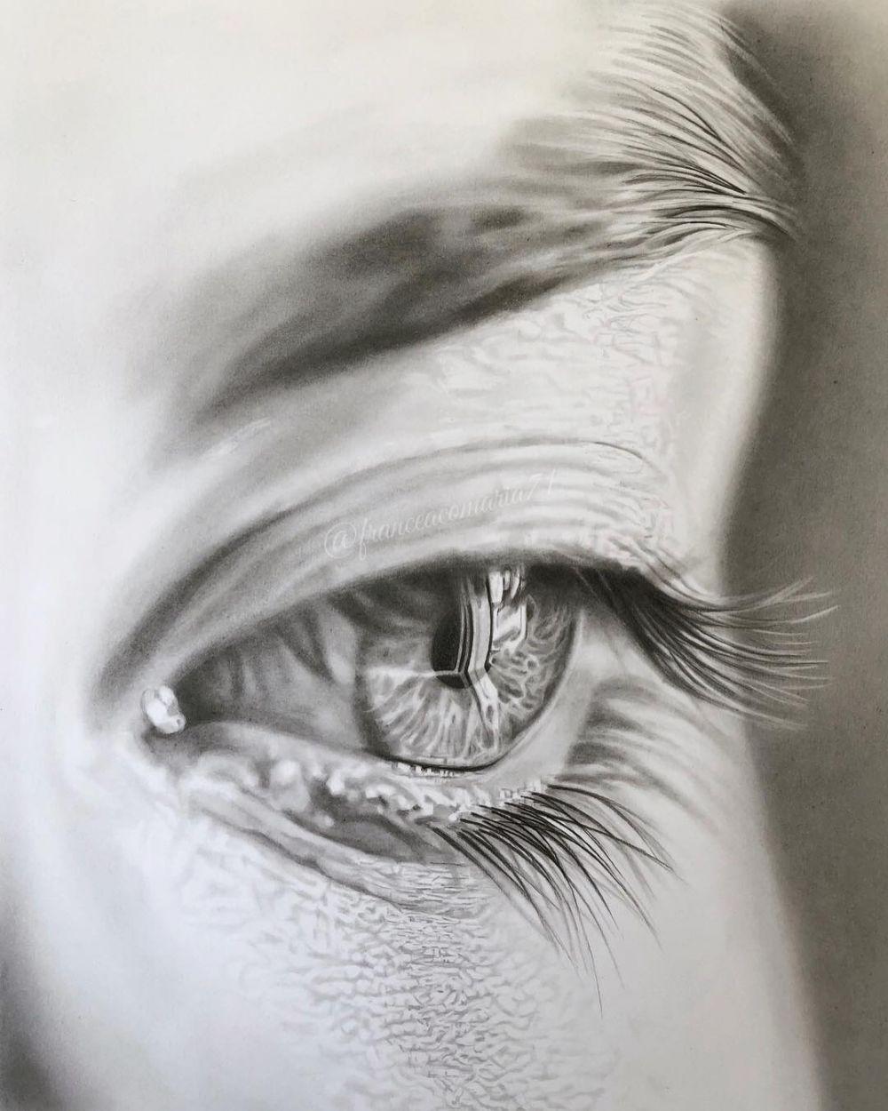Lukisan Mata Menangis Sedih Cikimm Com Di 2020 Lukisan Gambar Pensil