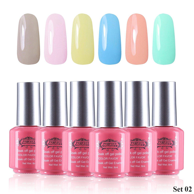 Perfect Summer Formaldehyde Free 6pcs 8ml Gel Nails Polish ...