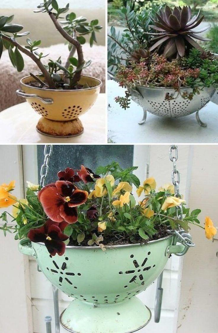 33 Most Beautiful Vintage Garden Decor Ideas  Planters  Ideas of Planters  Vintage Garden Decor Ideas Cute and Easy DIY Colander Planter