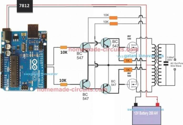 simple Arduino sinewave inverter circuit using SPWM | inverter in