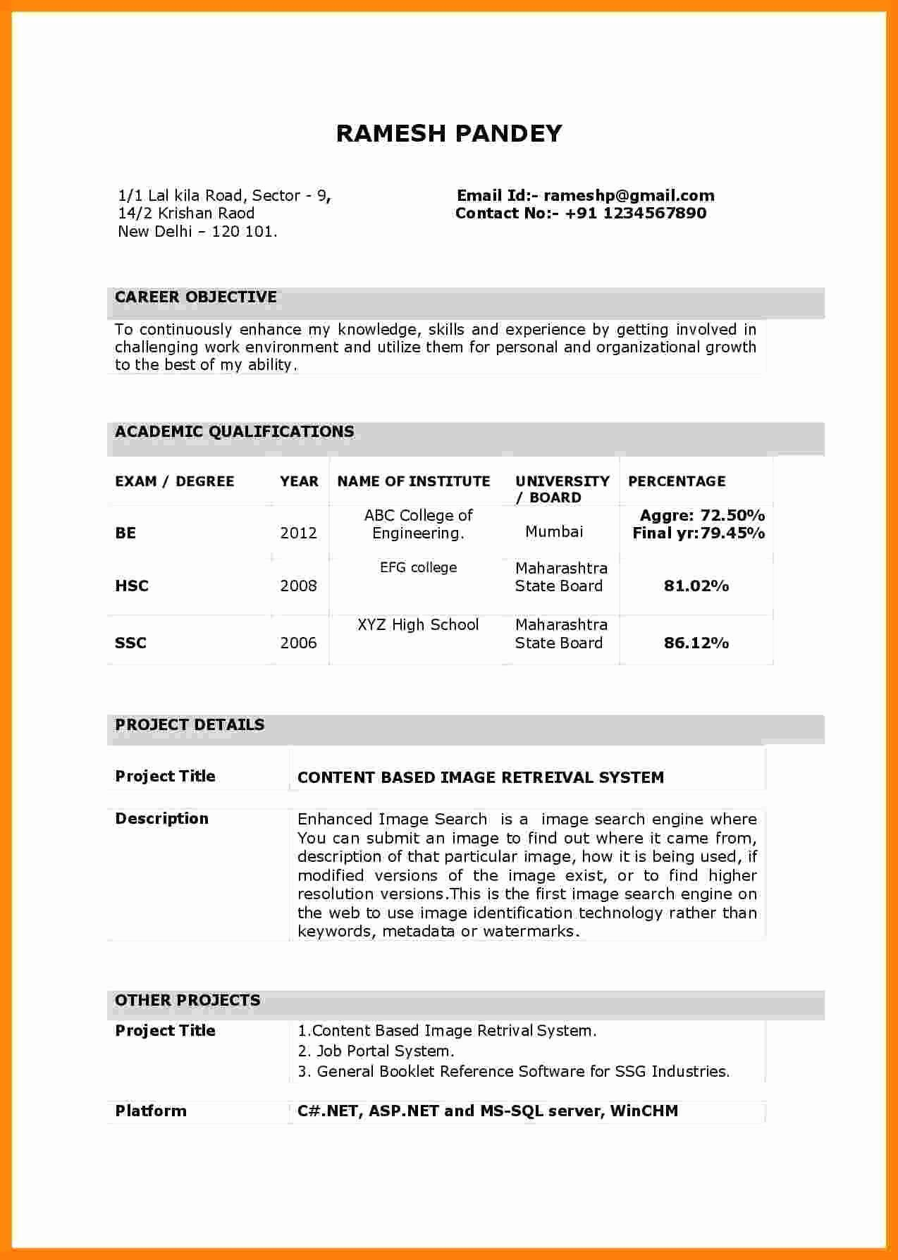 Simple Resume Images For Freshers