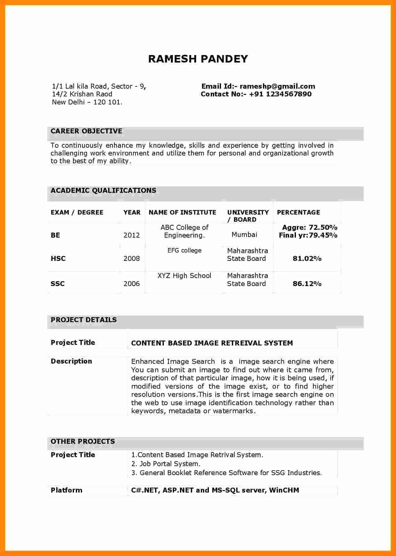 Image result for resume making for fresher Resume format