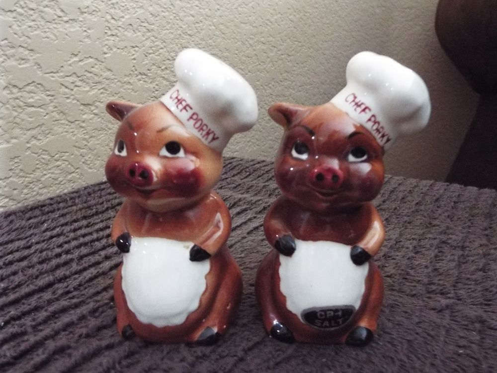Incredible Vintage Ceramic Salt Pepper Shaker Set KELVIN 1959 CHEF PORKY  Pigs
