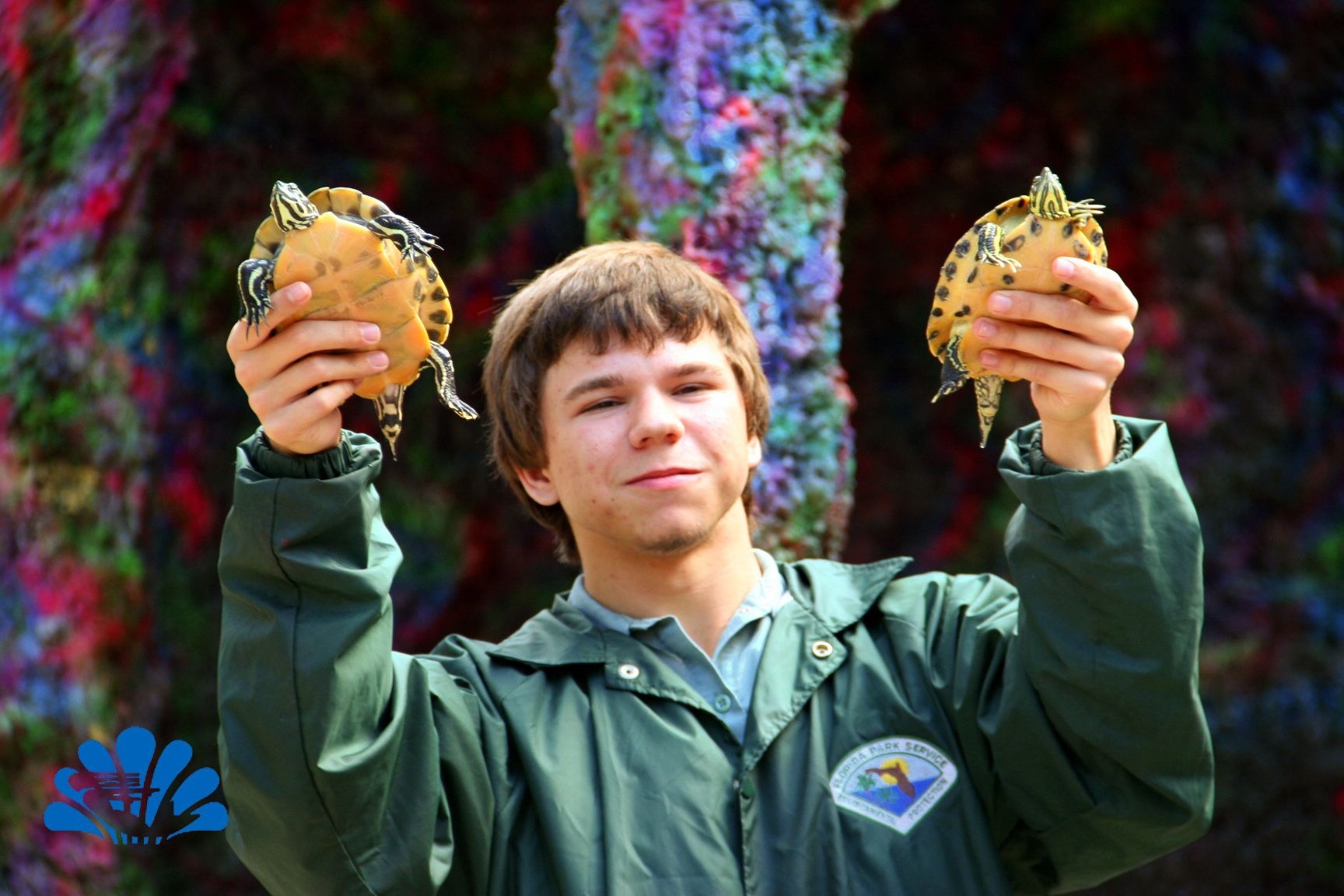 Eddie shows off a couple of Yellow Belly Slider Turtles during the show.
