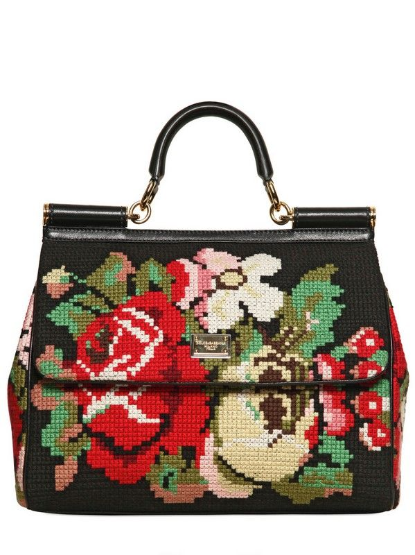 acafb5f2ebe4 Dolce   Gabbana Miss Sicily Cross Stitched Top Handle in Black (multi)