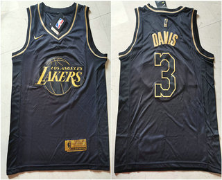 2020 Men's Los Angeles Lakers #3 Anthony Davis Black Golden ...