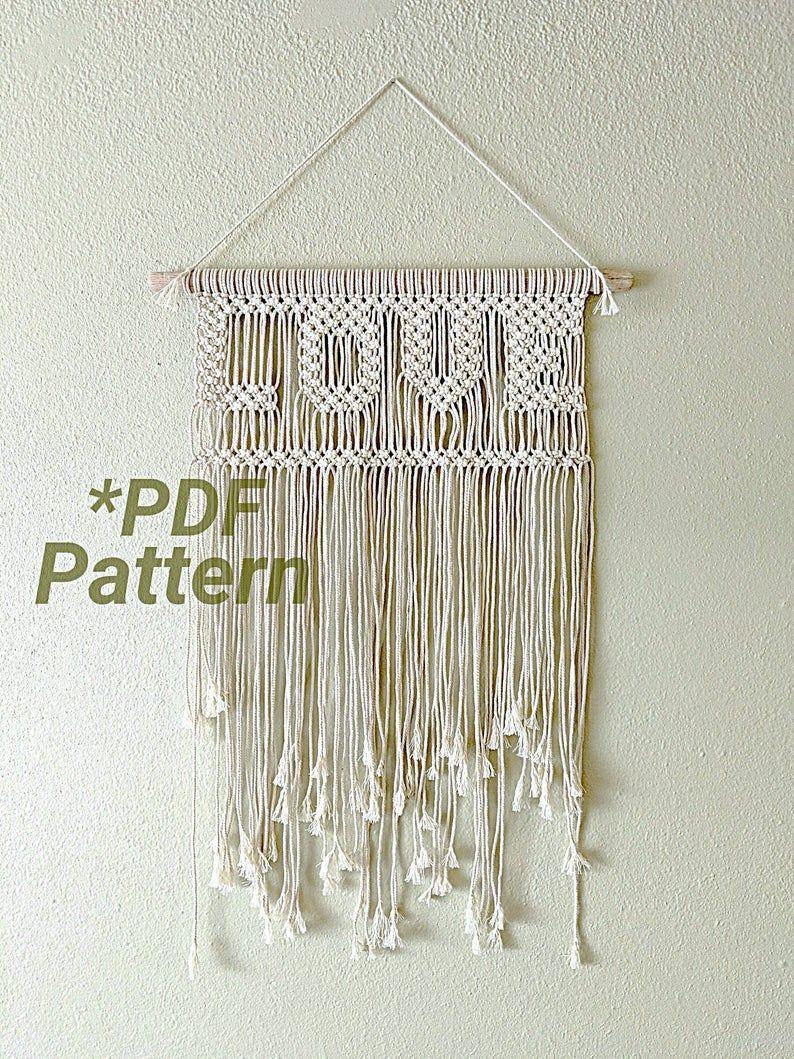 Macrame Pattern, Macrame Wall Hanging, Macrame DIY, Modern Macrame, Macrame Tutorial, PDF Pattern, Wall Hanging Pattern, Love Macrame
