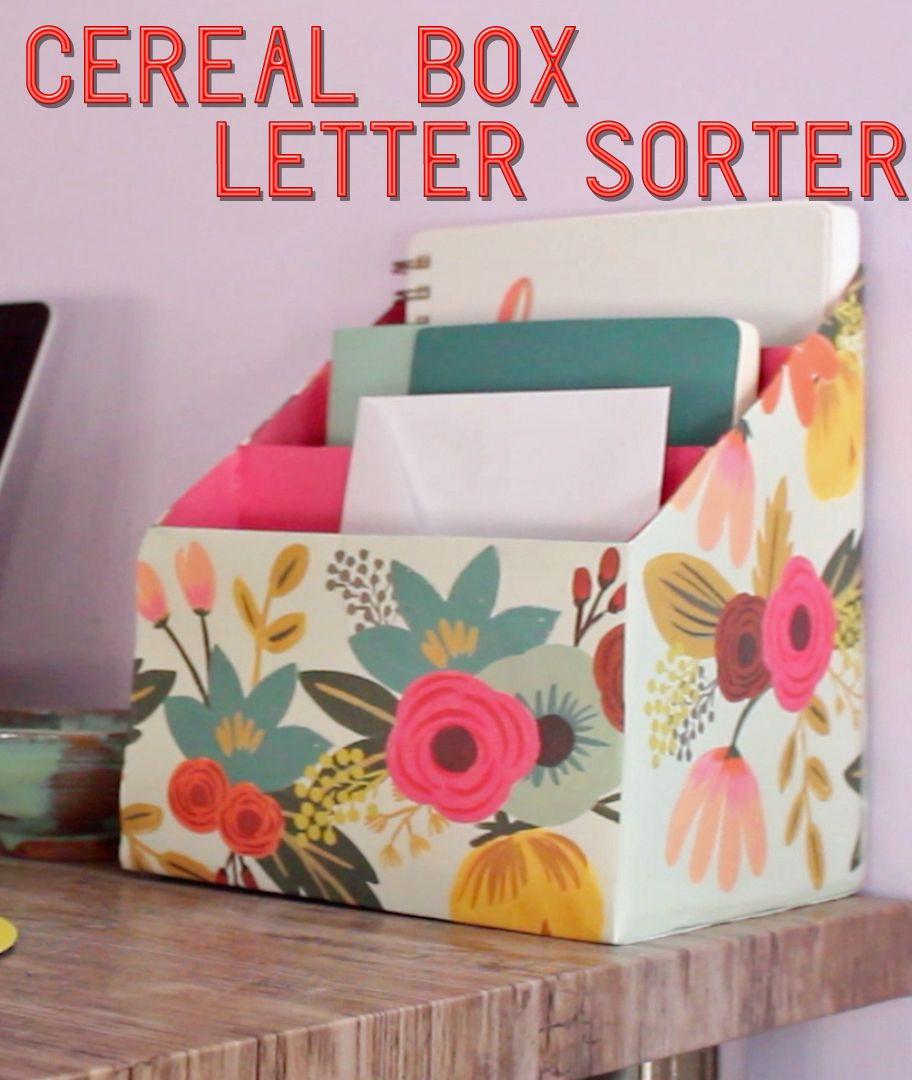 Cereal Box Letter Sorter Https Www Facebook Com Buzzfeednifty Videos 1710107392577319 Desk Organization Diy Diy Mail Cereal Box Craft