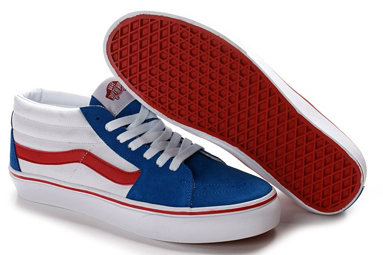 vans shoes red and white. vans sk8 mid skate shoes red blue white and r