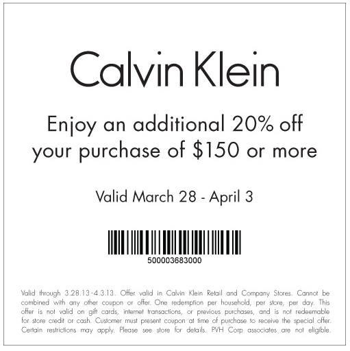 graphic regarding Calvin Klein Printable Coupon named 20% off $150 at Calvin Klein coupon by way of The Coupon codes Application
