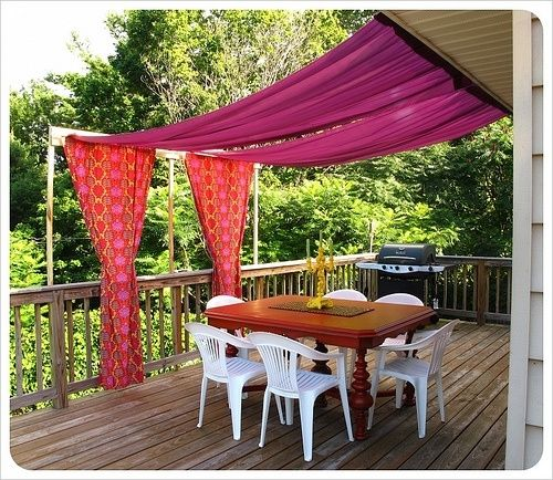 grab some outdoor friendly canvas fabric and attach to roof poles for a diy patio shade b a. Black Bedroom Furniture Sets. Home Design Ideas