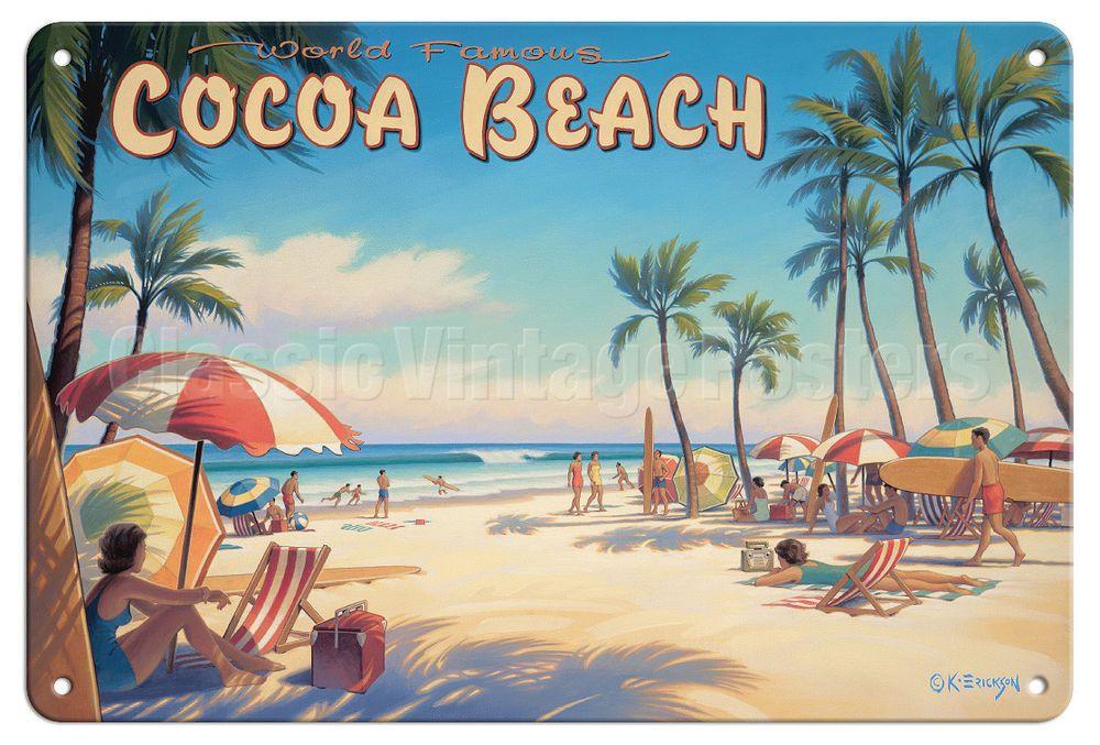 Details About Cocoa Beach Florida Kerne Erickson Vintage