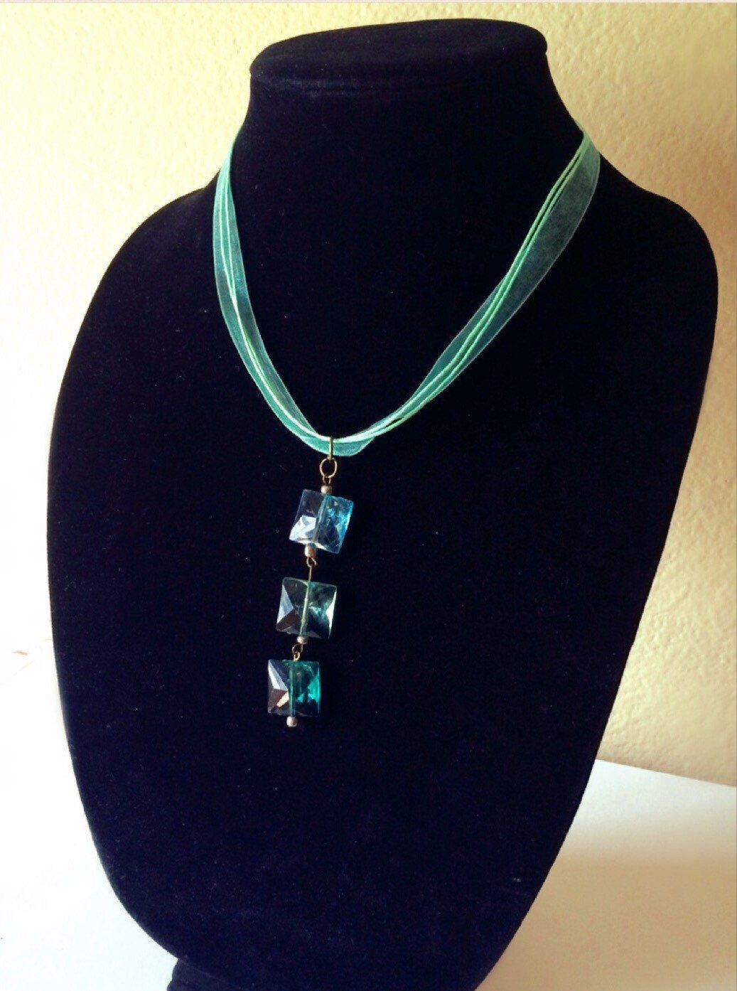 Ombré Aqua Modern Trendy Necklace And Choker Ribbon Chain, Square Pendant, Handmade Gift, For Her by Creationlily on Etsy https://www.etsy.com/listing/220071496/ombre-aqua-modern-trendy-necklace-and