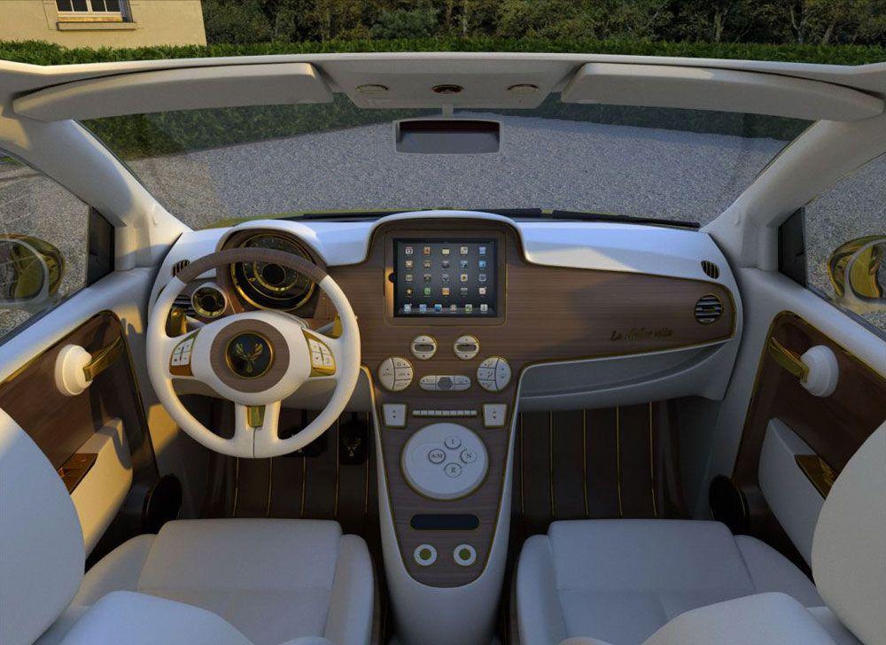 Interior Of The Fiat 500c La Dolce Vita Gold And Diamonds 200hp By